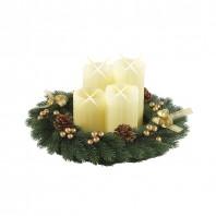 christmaxx Adventskranz rund mit 4 LED Echtwachskerzen creme-gold - Freisteller
