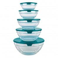 Aufbewahrungs-Glasschüsseln 10tlg.smaragdgrün - Freisteller
