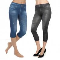 Figur Body Slim Jeans Jeggings 3/4, 2er-Set in Schwarz/Blau - Freisteller